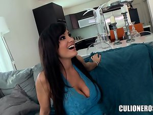 Big tittied MILF gets oiled up and rammed on a sofa