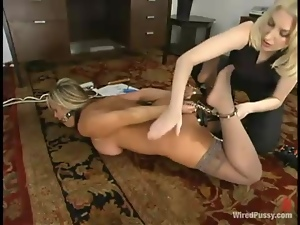 Busty blonde gets her tits pumped and her pussy fucked with a toy