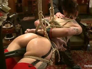 Krysta Kaos and Lilla Katt get bound and enjoy some ardent toying