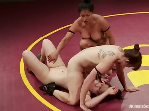 Four girls fight fiercely and lick each others pussies