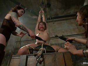 Lovely Babe Strapon Fucked after Toying Torture and Bondage by Two Vixens