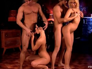 Carla Cox and Rihanna Samuel Having Fun in Foursome with Two Cocks