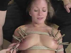 Hot blonde gets bound, tortured and fucked with a strapon