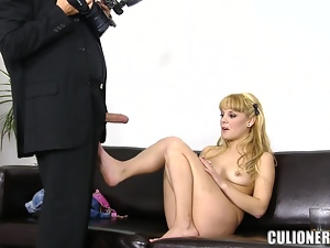 Smoking hot blond babe is riding a hard cock in the office