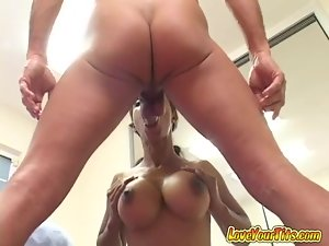 Interracial Titty Fuck and Blowjob by Big Breasted Ebony