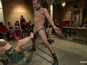 Public femdom BDSM with some smoking hot mistresses
