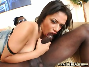 Alexis Silver fucks a black stud and enjoys loads of jizz on her tongue