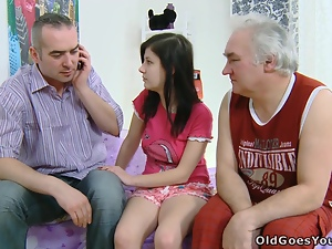 Kinky brunette teen is getting fucked by two grandpas
