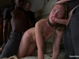 Chained blonde gets fucked in her ass and pussy