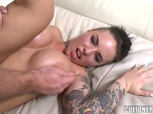 Horny tattooed babe is enjoying that sweating man