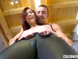 Slutty Kattie Gold fingers herself and rides big dick