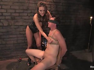 Busty and delicious mistress Nika is slaving that man