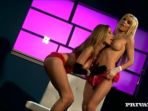 Angie and Anita pose in sexy lingerie and lick pussies