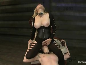 Busty blond mistress Aiden is torturing a kinky babe Coral
