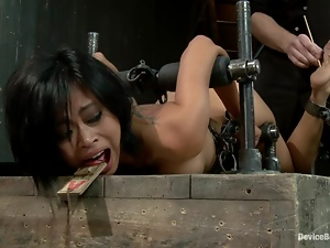 Asian babe in high heels gets tied in the yoke bar
