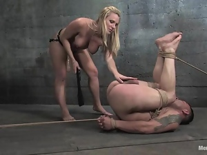 Harmony destroys Rico's butt with a strapon in BDSM scene