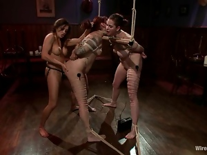 BDSM Lesbian Femdom Action with Electrical Torture and Strapon Fuck