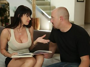 Curvy brunette milf shows her cock-sucking skills and gets facialed