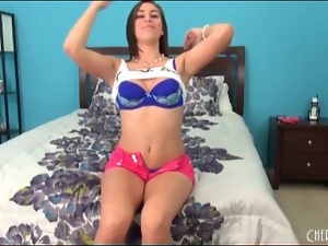 Beautiful Rilynn Rae in blue bra and panties