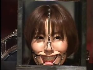 Japanese head in a box in kinky BDSM video