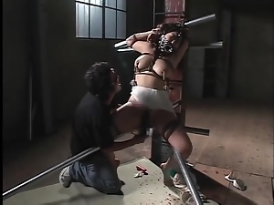 Rough BDSM porn with Japanese girl ends in cumshot