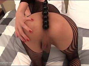 Sexy crotchless body stocking on beautiful shemale