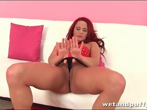 Redhead wears slutty red dress for solo porn