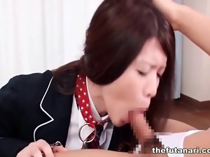 Shemale on a leash sucks on hard dick