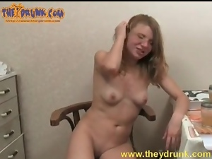 Drunk slut moans with dick fucking her pussy