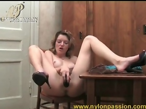 Dildo wrapped in pantyhose fucks hot chick