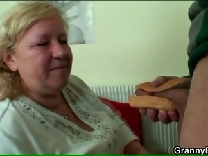 Fat grandma sucks ketchup off his cock