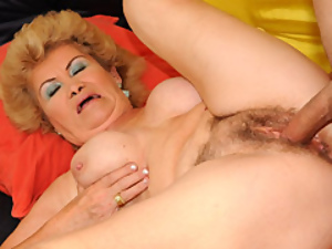 Hairy Grandma Getting Pussy Filled