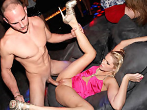Hot party slut fucked in club