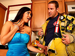 Latina milf sucks a fireman