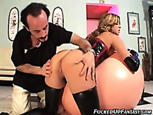 Leather-clad bitch gets pounded hard