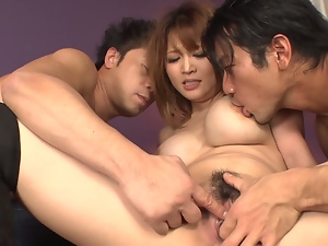 yuki touma with big tits banged in a threesome.finger pussy