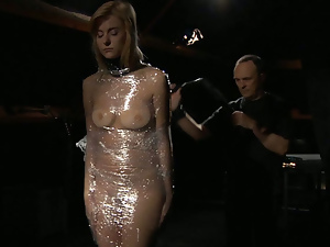 Blonde slut wrapped in plastic and vibed till orgasm