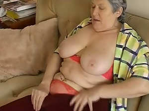 Lusty BBW granny home alone gets wild rubbing her smelly time worn cunt