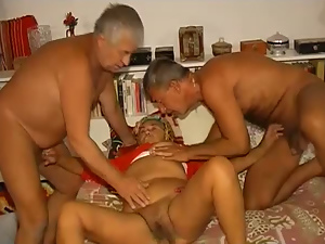 Wicked threesome with old guys and ugly obese granny