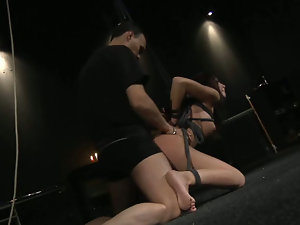 Big breasted bitch tied up and exploited for fuck