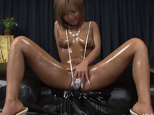 oiled up blond pervert with big firm boobies getting naked and fondling