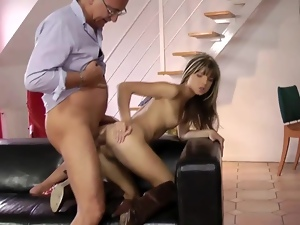 Sexy British giving old mans a suck