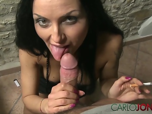 CarloJones Italian MILF enjoys rich smoke and cream cum