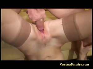Casting blonde bunny sucking cock