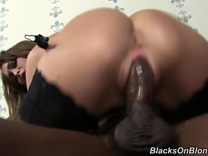 Girl's pussy bulges with black cock