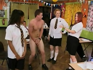 Dudes tormented by naughty schoolgirls