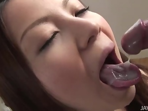 Cock loving Mei shows off her cock sucking skills on a