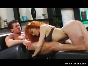 Elegant Audrey Hollander slobbers over this hard dick