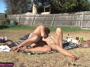 Hot Aussie amateurs fucking outdoors