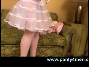 Transvestite in babydoll pink dress loves crossdressing